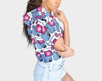 Mena Mode Hoodie in Ankara Fabric Crop Top in Pink White and Blue