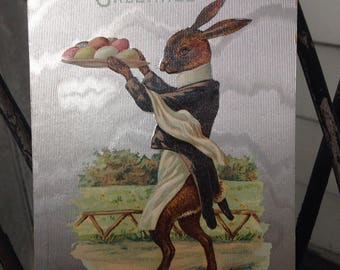 Vintage Easter Postcard with Bunny Holding a Tray of Eggs