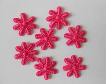 7 flowers in pink guipure of 2.2 cm