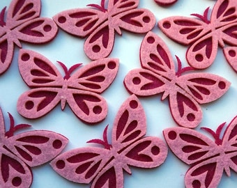 Felt Pink Butterflies, 10 Pink Butterflies, Felt Insects, Craft Shapes, Felt Die Cuts