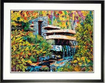 Fallingwater Print, Frank Lloyd Wright architecture, Famous houses, waterfall wall art, Johno Prascak