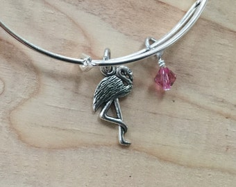 SALE- Flamingo Bangle Bracelet- Flamingo Charm, and accent bead- only 1 available