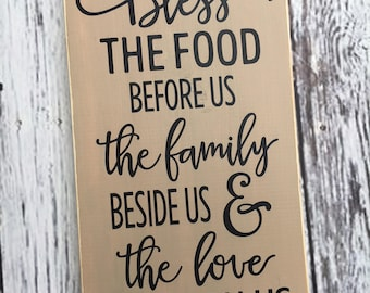 Bless the food before us sign | kitchen sign | dining room sign | the family beside us | and the love between us | wood sign | Style# HM99