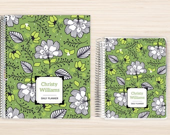 Planner | 2018 Planner | Weekly Planner | Hourly Planner | Custom Planner | Personal Planner | Life Planner | Planners | green white floral