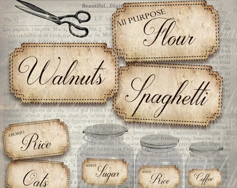 48 Pantry Labels Kitchen Organization Editable Instant Download US and UK/AUS Versions