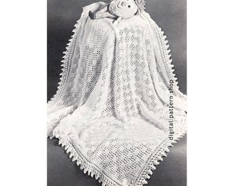 Vintage Baby Blanket Knitting Pattern Knit Lacy Shawl Blanket Pattern Baby Wrap PDF Instant Download K51