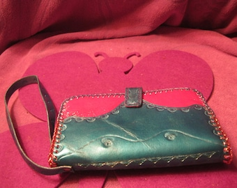 AQUA and PINK LEATHER Phone Wallet