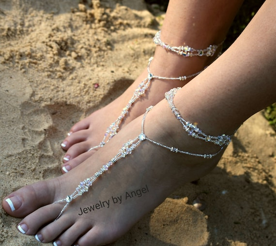 Bride Wear Barefoot Foot Beach Crystal Foot Wedding Bridal Anklet Bridesmaid Beach Thong Slave Wedding Jewelry Crystal Gift Foot Jewelry 8P5qxTP6w