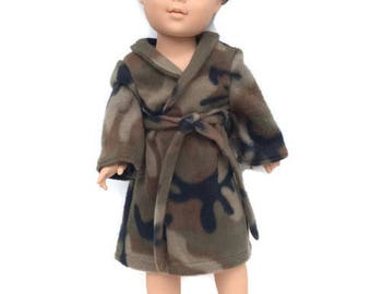 18 Inch Boy Doll Clothes, Doll Robe, Boy Doll Robe, Camoflague Bathrobe, Camo Robe, Spa Robe