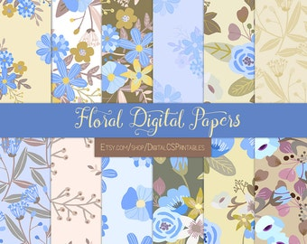 Fall Floral digital paper floral Purple digital paper flower Fall digital paper Periwinkle scrapbook paper 12x12 commercial use purple