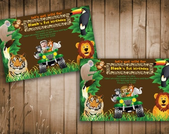 Jungle Animals Safari Birthday Party Invitation With and Withot Photo- Printable, DIY