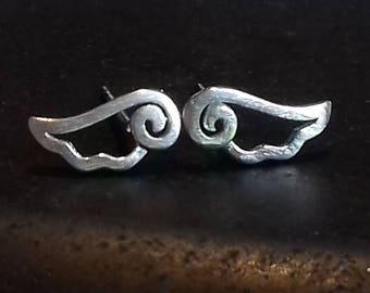 Sterling Silver angel wing earrings | angel wings | stud earrings | silver earrings | angel earrings | angel wing studs | wing stud earrings