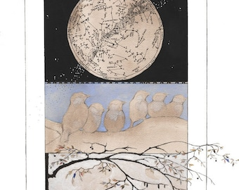 Constellations Greeting Card with Envelope - Blank 5x7 - Stars - Baby Birds - Watercolor Cards