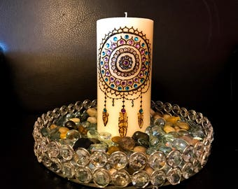 Dream Catcher Henna Candle Blue/Purple