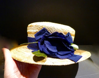 Vintage Sommer Hut, Strohhut, Toscana, Florence, blaue Blüte, Damenhut, Geschenk, 60er Jahre