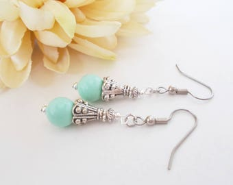 Aqua Mint Earrings, Bridesmaids Earrings Set of 6, Birthday Gift for Sister, Mint Bridal Jewelry, Spring Wedding Jewelry Clip On Earrings