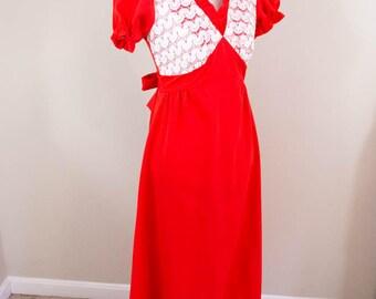 Lacy 60s Maxi Dress- SMALL - Red Vintage Dress - Lacy Dress - Date Dress - Pinup Dress - Retro Dress - Vintage Maxi Dress - 60s Dress