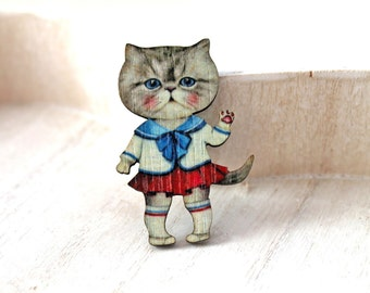 Girl Cat  wooden brooch kawaii sweet lolita egl nautical style