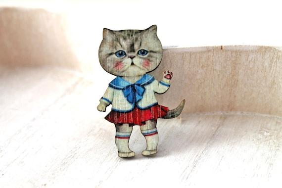 Girl Cat  wooden brooch kawaii sweet lolita egl nautical style