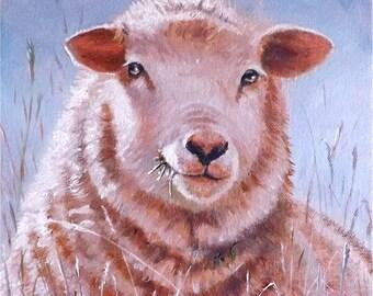 "Sheep portraits, Original Oil Painting, "" Among the grasses,Bonny Pennines ewe"""