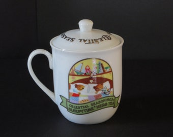"Vintage Celestial Seasonings Teacup and Lid/1985/Sleepytime Herb Tea/3.5"" tall x 3.5"" wide"