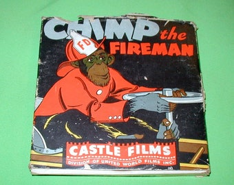 Chimp the Fireman 16mm projection film in original box NEVER played Castle Films classic cartoon kids united world films