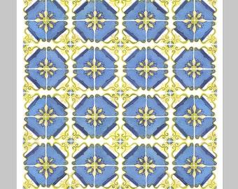 Tiles Watercolor Print