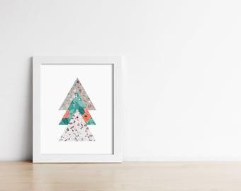 PRINTABLE Terrazzo Floral Triangle Art - Geometric Modern Wall Art - Office Decor - Housewarming gift - Gallery Print Digital - SKU:3823