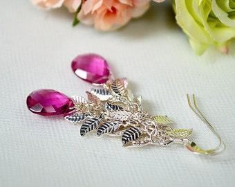Rubellite pink tourmaline earrings Silver leaf earrings Fuchsia briolette teardrop earrings Long leaf chain earrings