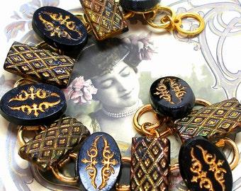 "1800s BUTTON  bracelet, Victorian black glass with flowers. 7.5"" Antique button jewellery."
