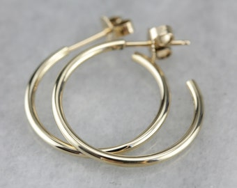 Yellow Gold Hoop Earrings, Thin Hoop Earrings, Medium Sized Hoops 8AMTMCWH