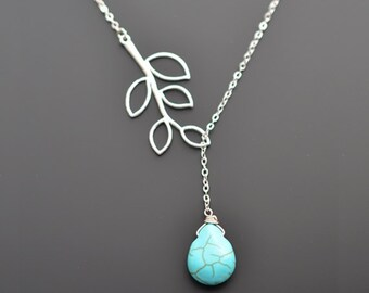 Turquoise necklace, Silver necklace, Lariat necklace, Bridal necklace, Wedding necklace, Anniversary gift, Christmas Necklace