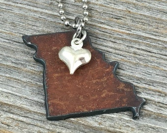 Missouri Necklace SMALL, Charm Necklace Birthday Gift for Her Kansas City Mom Gift Rustic Jewelry Christmas Gift for Mom Delicate Necklace