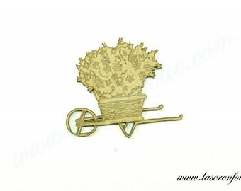 Wheelbarrow of flowers, made of medium size 5cm