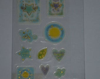 a sheet of gold epoxy stickers
