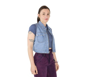 90s Vintage Denim Vest | Perfect Wash Zip Jean Vest | Size Large