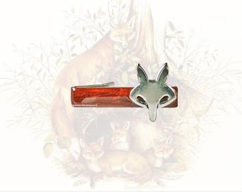 Fox Tie Clip Inlaid in Hand Painted Copper Enamel Woodland Inspired with Color Options