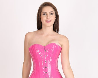 Women's Pink Faux Leather Gothic Burlesque Bustier Waist Training Overbust Corset Top