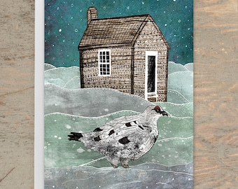 ALASKA Greeting Card, Alaska Greeting Card, White Ptarmigan Card, Alaska State Bird Postcard, Northwest, Arctic, Holiday Card, Blank Card