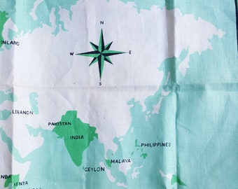 Linen tea towel Associated Country Women of the World map vintage 1960s dish cloth aqua green blue