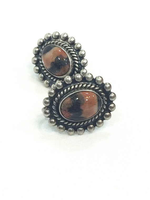 Brown Agate & Sterling Silver Earrings, Banded Agate Beaded Roped Silver, Semiprecious Gemstone Oval Earrings, Vintage Southwestern Jewelry
