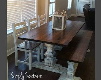 """Renaissance Trestle Base Farmhouse Table ~ 8"""" wide """"legs"""""""