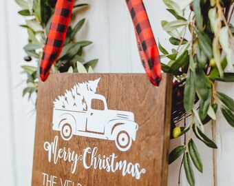 Christmas Truck Rustic Wood Sign, Farmhouse Christmas Sign, Personalized Merry Christmas Custom Holiday Sign
