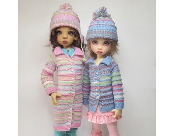 """KNITTING Pattern KP-007: Coat & jacket with hat with options,  for Kaye Wiggs dolls.  (43cm/17"""" Mei Mei and 45cm/18"""" MSD)"""
