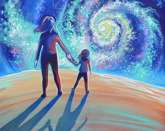 I Love You to Infinity, digital download jpeg 5.6 MB, ethereal Mother Daughter art, Girl Power art