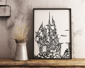 Ruin Ink Drawing, Art Print. A4 drawing, Ink Illustration, Fine art print, Surreal, Pen and ink art, Black and white art, Original drawing