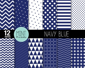 Navy and White Scrapbooking Paper, Digital Paper, Patterned Paper, Printable Sheets Blue polka dots chevron background - BUY 2 GET 1 FREE!