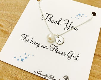 Flower girl necklace, Flower girl gift, Personalised flower girl gift, Pearl necklace, Fresh water pearl necklace, Flower girl, Pearl