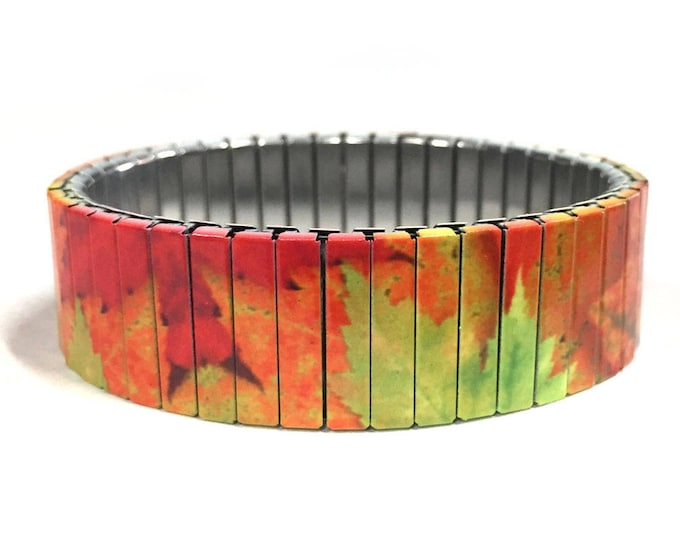 FALL LEAVES Bracelet, Maple leaf, Stretch Bracelet, Repurpose Watch Band, Sublimation, Stainless Steel, Wrist Band, gift for friends