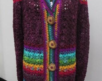 Crocheted Sweater Coat Aubergine Rainbow Merino Wool